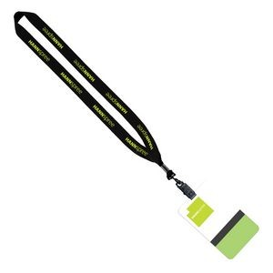 "3/4"" Polyester Lanyard With Bulldog Clip & 3""x5"" Plastic Badge"