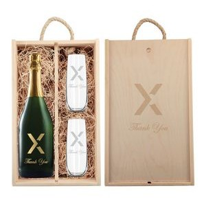 Rustic Laser Engraved Wood Box w/ Custom Etched Champagne and Flutes